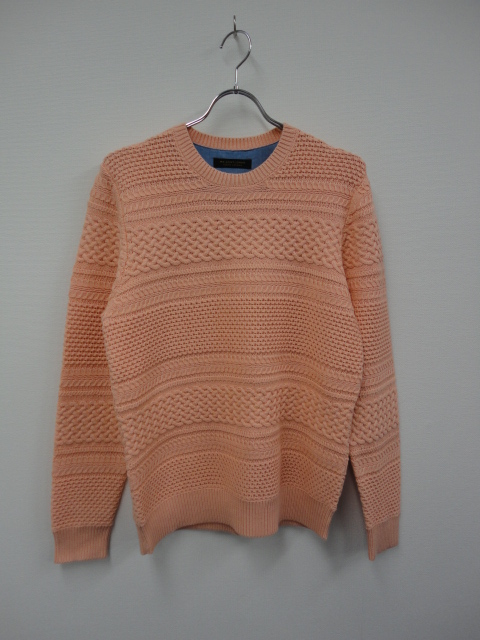 KN03 BORDER CABLE KNIT SWEATER PNK.JPG